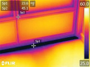 Figure 5: Infrared scan of non-thermally broken thresholds from Figure 4 (darker colors indicate lower temperatures).