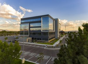 Utah's Sandy Commerce offices feature mountain views framed by a high-performance curtainwall system. Photo © Robert Casey, courtesy Tubelite Inc.