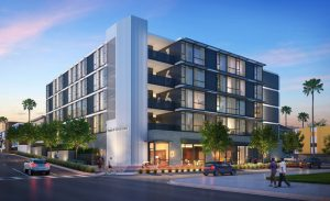 Designs have been revealed for Hope on Alvarado, a housing solution for the homeless in Los Angeles, California, using modular construction. Rendering courtesy KTGY Architecture + Planning