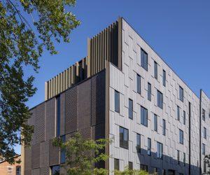 The Rhode Island School of Design (RISD) opens new cross-laminated timber (CLT)-steel hybrid residence hall. Photo © John Horner