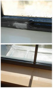Figure 3: Condensation and ice formation on newly installed, steel-framed windows.