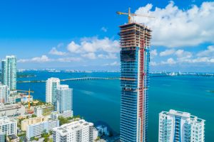 Miami's Arquitectonica-designed Elysee tower tops off at 57 stories. Image courtesy Two Roads Development