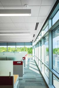 Building standards and guidelines require good acoustics and are evolving with more stringent requirements. Many now require the use of high noise reduction coefficient (NRC) ceiling panels. Photo © Joe Ciarlante