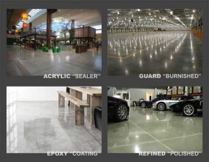 'Shiny' does not equate to polished concrete. Many Division 09 finishes mimic a polished finish without providing the strength, safety, and sustainability of an actual refined concrete floor. Photos courtesy XRQ Corp