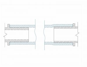 Cross-sectional comparison of insert fitting (left) versus cold-expansion with crosslinked polyethylene (PEX) compression-sleeve fitting (right) showing minimal reduction in inside diameter (ID) with negligible impact on flow rate.