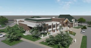 Sheehan Nagle Hartray Architects' design for the renovation and expansion of the St. Charles Public Library, Illinois, has been approved. Rendering courtesy SNHA