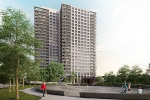 Murphy Burnham & Buttrick Architects (MBB)-designed Garitage Park residential tower in Sofia, Bulgaria, is ready to kick off construction. Image courtesy MBB