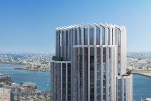 Kohn Pedersen Fox (KPF) and the Chiofaro Company have unveiled the Boston Harbor Tower, the Pinnacle at Central Wharf. Image courtesy KPF