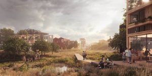 Designed by Henning Larsen, the Fælledby masterplan creates a close-knit community and an intimate connection to nature into a new, sustainable district. Image courtesy Henning Larsen