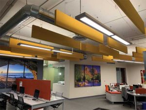 An alternative to traditional fabric-wrapped panels, paintable ones offer designers the flexibility to blend in or stand out when adding acoustic treatment to a wall or ceiling.