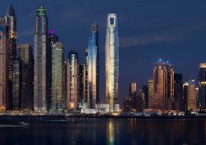 Ciel, rising in Dubai Marina, United Arab Emirates, will be the world's tallest hotel. Photo courtesy the First Group