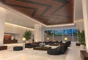 Wood ceiling panels are offered in triangles, trapezoids, and parallelograms as part of a new ceiling system that gives architects the ability to mix and match different panel shapes, sizes, colors, and textures.