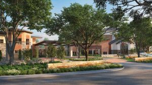 The design concept for Presbyterian Village North (North Dallas, Texas) will implement a cohesive aesthetic across the property's many structures, while reconfiguring and updating the core common areas and amenities. Image courtesy three