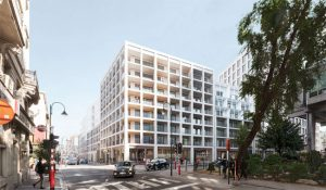 Henning Larsen's design for the city block at Place de Brouckère in Brussels, Belgium, draws on traditional and contemporary heritage to create a mixed-use destination for the city in the 21st century. Rendering courtesy Henning Larsen
