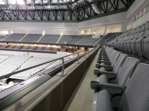 The Dickies Arena in Fort Worth, Texas, used custom architectural railings to enhance fan experience inside and outside the arena. Photo courtesy Trex Commercial Products