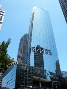 The Wilshire Grand Center in Los Angeles, California, is the recipient of the American Institute of Steel Construction's (AISC's) 'National' award. Photo courtesy Len Joseph
