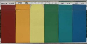 Figure 1: Early polyvinylidene fluoride (PVDF)-acrylic coatings, on exposure in Florida for more than 40 years. Unexposed portion of the coating is at the top. The number at the top left of each panel denotes the month and year of exposure. Typical coating thickness values are 25 μm (1 mils). The panels show gloss loss but no chalking. Image courtesy Arkema Inc.