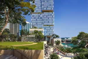 Henning Larsen wins competition to design Cockle Bay Park, a major tower project in central Sydney, Australia. Rendering courtesy Henning Larsen