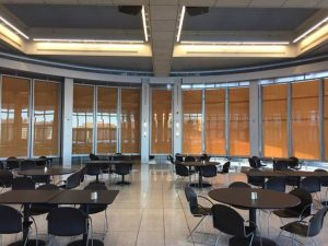 The Ecolab headquarters in St. Paul, Minnesota, was transformed with custom rotating glass doors featuring distinctive design and engineering. Photo courtesy Staging Concepts