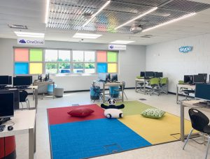 Staff and teachers at the Arbor Park School District 145, Illinois, brought outdated classrooms back to life with the use of acoustic ceiling panels. Photo courtesy Arbor Park School District 145