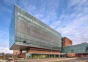The University of Kansas (KU) Medical Center Health Education Building (HEB) in Kansas City, Kansas, balanced the use of glass, metal, and brick to create an iconic presence on campus. Photo © Tom Kessler. Photo courtesy Vitro Glass