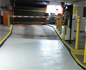 Parking garage areas subject to the heaviest abuse caused by constant traffic, such as the ticket spitter, helical turns, and ramps, benefit from the superior durability and crack-bridging capabilities of PUMA systems.
