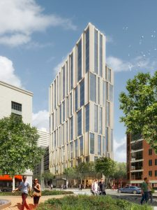 Ground has broken on a Boston residential tower designed by Höweler + Yoon and Sasaki. Rendering courtesy Luxigon