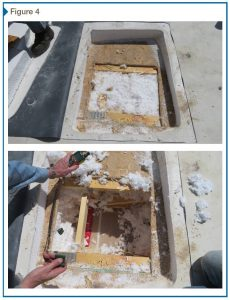 Figure 4: Typical invasive inspection opening above trusses (top) and below roof deck sheathing (bottom). Photos © Dwight Benoy