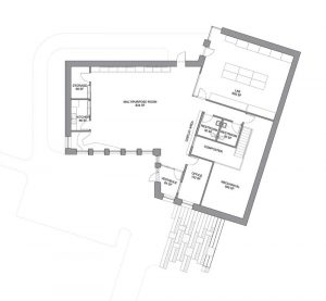 The floor plan of Nuthatch Hollow, an environmental classroom and research facility in Binghamton University (New York), shows the connection between the lab and multi-purpose room as well as the large percentage of the footprint devoted to the composter and mechanical space. Images © Ashley McGraw