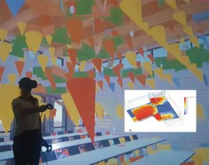 The virtual version of Nuthatch Hollow allows visitors to toggle on and off a three-dimensional representation of simulated daylight analysis that indicates direction via geometry and intensity through color. Image © Amber Bartosh and Ashley McGraw