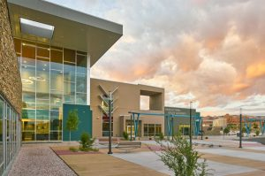 Navajo Tribal Utility Authority's new office blends modern, high-performance curtain wall and storefront systems with traditional, culturally inspired design. Photo © Patrick Coulie Architectural Photography. Photo courtesy Tubelite Inc.