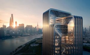 Zaha Hadid Architects (ZHA) is building the new Shanghai headquarters of the China Energy Conservation and Environmental Protection Group (CECEP). Rendering courtesy Negativ.com