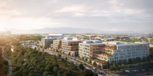 Ground has broken on Kohn Pedersen Fox Associates (KPF)-designed Platform 16, a three-building office campus in downtown San Jose, California. Image courtesy KPF