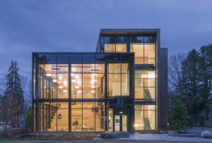 Bowdoin College's Roux Center for the Environment, Brunswick, Maine, utilized silicone-glazed, fire-rated steel curtain wall to create transparency and promote occupant well-being. Photo © Jeff Goldberg/Esto. Photo courtesy Technical Glass Products