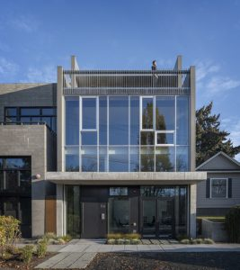 For the Canal Street project, Seattle, Washington, Heliotrope Architects took a narrow, commercially zoned, urban-infill lot with a small, rundown 1950s-era house and transformed it into a new, forward-thinking commercial office building. Photo courtesy Aaron Leitz