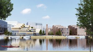Henning Larsen has been granted planning approval by the Belfast City Council for the Belfast Waterside development, located along the banks of River Lagan, Northern Ireland, United Kingdom. Image courtesy Henning Larsen