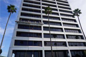 The façade restoration project for 610 Newport Center Drive, Newport Beach, California, wins an award. Photo courtesy APV Engineered Coatings