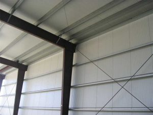 Insulated metal panels (IMPs) combine continuous insulation, air/water barrier (A/WB), and an exterior skin into one assembly. Photo courtesy All Weather Insulated Panels