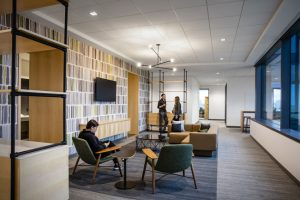 Pioneer Natural Resources' headquarters in Irving, Texas, supports creativity, comfort, and sustainability with acoustical ceiling systems. Photo © Corgan. Photo courtesy Rockfon