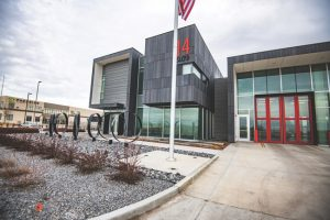 The net-zero-energy Fire Station No. 14, Salt Lake City, Utah, earns the Leadership in Energy and Environmental Design (LEED) Gold certification with a triple-glazed, thermal block curtainwall system. Photo © Cache Valley Photographers. Photo courtesy Tubelite Inc.