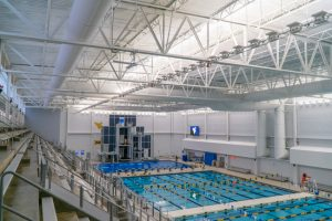 Fabric duct was used for the $48-million Aquatic Center at Mylan Park, Morgantown, West Virginia, to cut HVAC material and labor costs and fast-track the project. Photo courtesy FabricAir Ductwork