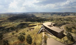 Studio Gang's design for the Theodore Roosevelt Presidential Library is conceived as one of the Badlands' rock formations, the building emerges from the land as if carved away by water and wind. Image courtesy Studio Gang