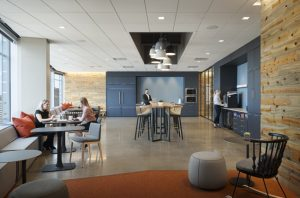 Greenberg Traurig's Denver, Colorado, law offices used high-performing ceiling tiles to create a 'next-generation' workplace and meet sustainability and aesthetic goals. Photo © Ryan Gobuty (Gensler). Photo courtesy Rockfon
