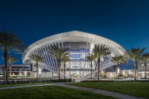 """The structurally expressive student union building creates a """"city within a city"""" on the Daytona Beach campus."""