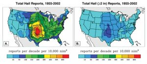 """Figure 1 The entire country is subject to hail storms with more severity and frequency, as represented by the warmer colors in this diagram. Image © """"The Frequency of Large Hail Over the Contiguous United States"""" by Joseph T. Schaefer, Jason J. Levit, Steven J. Weiss, and Daniel W. McCarthy, NOAA/NWS/NCEP/Storm Prediction Center, Norman Oklahoma, June 2009"""