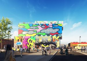 MVRDV designs Glass Mural in Detroit, Michigan, with colorfully printed glass façades that both celebrate existing murals and add new artistic works to the area. Images courtesy MVRDV