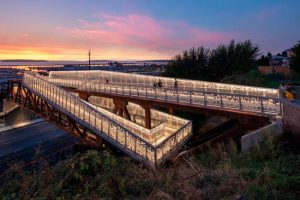 Seattle-based LMN Architects have completed the Grand Avenue Park Bridge in Everett, Washington. The bridge creates a new viewing platform and civic space with an inventive, accessible pathway. Photos courtesy LMN Architects