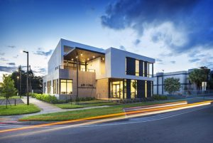 The SDH + TREO Professional Building nestled in a corner lot in North Miami Beach, Florida, was conceived as a sculptural icon. Photos courtesy SDH Studio