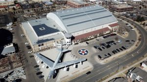 The Wings Over the Rockies Air & Space Museum in Denver, Colorado, maintained its historic look with a curved standing seam roofing. Photo courtesy S-5!