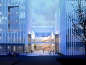 Designed by Yazdani Studio of CannonDesign, the Philadelphia Neurologic Institute outside Philadelphia, Pennsylvania, will be a department-less health building that redefines patient care. Image courtesy Yazdani Studio of CannonDesign